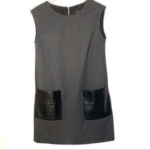 j. Crew Gray Shift Dress with Leather Pockets 4p